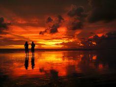 Silhouette at Pangandaran Beach, West Java, Indonesia.