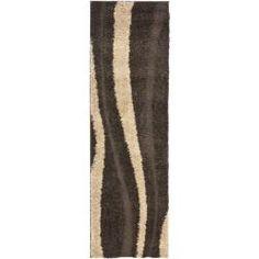 Safavieh Ultimate Dark Brown/ Cream Shag Rug (2'3 x 11')
