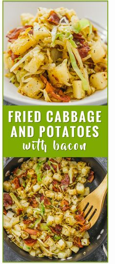 This is a really easy fried cabbage and potatoes recipe with crispy bacon. Only six ingredients and one pan needed. soup recipes rolls pickled steaks boiled sauteed fried casserole salad roasted stuffed cabbage and sausage southern cabbage k Side Dish Recipes, Veggie Recipes, Vegetarian Recipes, Cooking Recipes, Healthy Recipes, Vegetarian Casserole, Sausage Recipes, Vegetarian Cooking, Healthy Southern Recipes