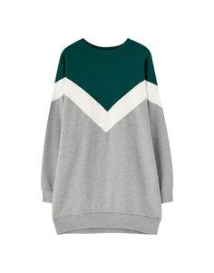 Sweatkleid mit Colour-Blöcken - PULL&BEAR Pull & Bear, Pullover, Sweatshirts, Sweaters, Outfits, Color, Fashion, Dress, Women