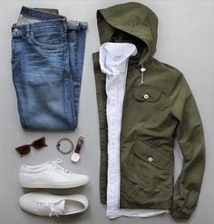Olive, Denim, Sneakers, White Shirt #minimal ##menswear