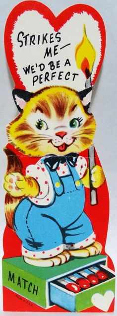 J1038 50s Match STRIKES The Cat! Matchbox-Vtg Unused Diecut Valentine Card
