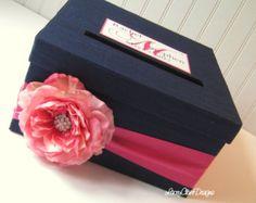Caja de tarjeta boda satén marfil con Coral por AllAHeartDesires