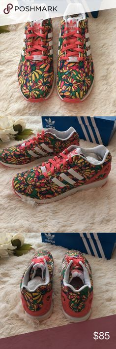 Adidas Sneakers Brand new with tags authentic Adidas Sneakers. Zx flux collection. Sold out style. Summertime fun shoes!! Coral pink with a green base print. Adidas Shoes Sneakers
