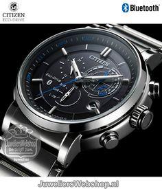 Citizen BZ1006-82E horloge Eco-Drive Bluetooth Chrono Zwart