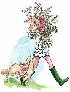 Inslee Hayes Golden Retriever & Wellington Boot Girl carrying just picked flowers