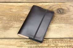 Personalized small refillable leather journal in black bridle leather by Tagsmith.