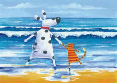 Cats dogs beach, Peter Adderley - Duke And Sweetpea Love Paddling