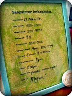 Babysitter Information board: Great idea!