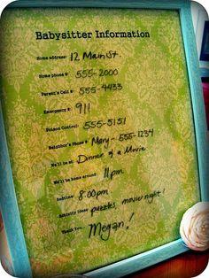 Babysitter info memo board
