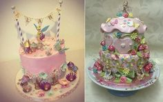 flower fairy cakes by Dee's Sweet Surprises left and Let's Eat Cupcakes right