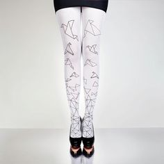 ORIGAMI BIRDS white tights hand printed great by HoldMeTights