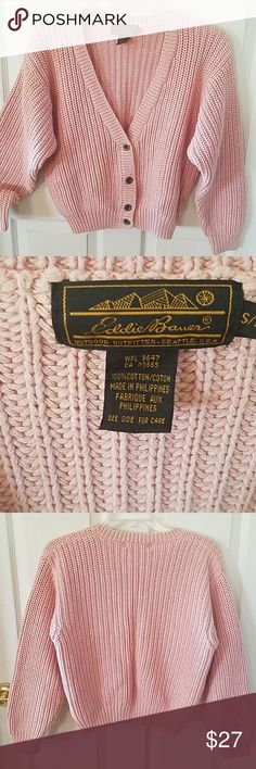 d811910df Eddie Bauer-Chunky Cardigan Pale pink. V-neck button down. 100%