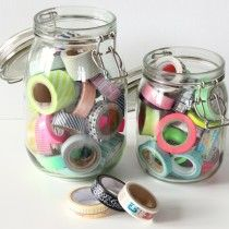 Ikea Jars used as Washi Tape storage - click through for interview with Janna Werner