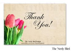 Tulip Printable Baby Shower Thank You Card by TheNerdyBird1, $5.00