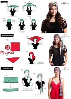 head scarf tutorial tutorial para usar lenco na cabeca - The world's most private search engine Hair Scarf Styles, Curly Hair Styles, Head Scarf Tutorial, Turban Tutorial, Gypsy Costume, Gypsie Costume Diy, Bandana Hairstyles, Pirate Hairstyles, Hair Accessories For Women