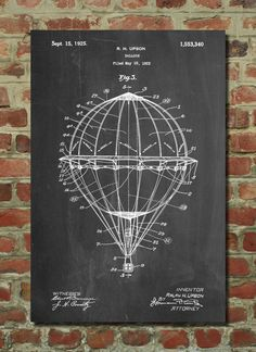 Hey, I found this really awesome Etsy listing at https://www.etsy.com/listing/208566025/hot-air-balloon-1923-patent-poster