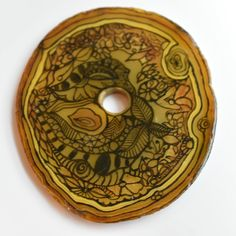 Copper-Colored Decorated Art Paperweight