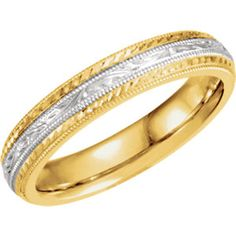 14kt Yellow & White Two-Tone Hand-Engraved Band
