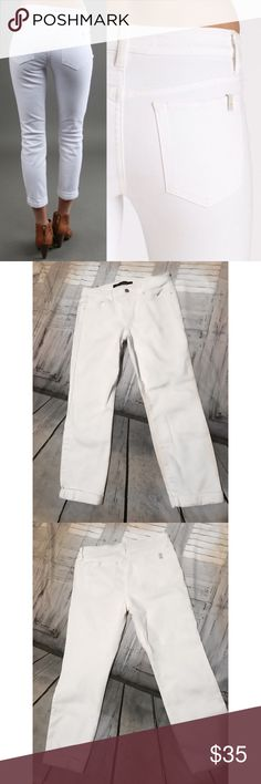 White Joe's Jeans Cuffed Ankle  Joes Jeans white denim pants . Stretch with a Billie ankle that is cuffed. Who says you can't wear white after Memorial Day ? Rules , no more !! Winter White is life ! Size 28 Waist, 32' in length . Joe's Jeans Jeans Boyfriend