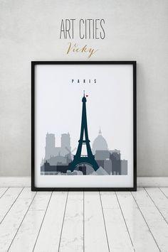 París la impresión cartel arte de la pared por ArtPrintsVicky