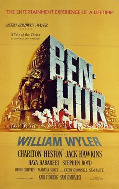 Ben-Hur is a 1959 American epic historical drama film set in ancient Rome, starring Charlton Heston, Stephen Boyd, Jack Hawkins, Hugh Griffith and Haya Harareet. It won a record 11 Academy Awards, including Best Picture, an accomplishment that was not equalled until Titanic in 1997 and The Lord of the Rings: The Return of the King in 2003.