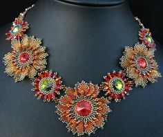 https://flic.kr/p/7gQ2yq | Vermillion Bloom Necklace | Another experiment using Kim Andersons lovely pattern