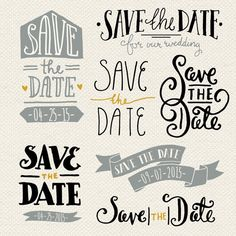 Save the Date Overlays 1 // Photoshop PSD // Editable Vector EPS // Invitation…