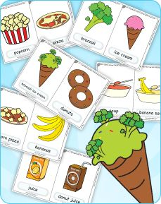 """Free flashcards and teaching resources for """"Do You Like Broccoli Ice Cream?"""" from Super Simple Songs 3.  One of the greatest (and silliest) food songs of all times. Also practices likes and dislikes."""