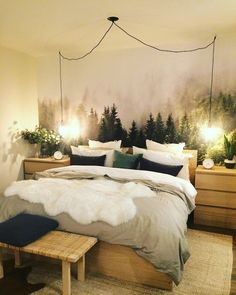 33 Awesome Bedroom Mural Wallpaper Ideas 33 Awesome Bedroom Mural Wallpaper IdeasAmong all the different types of wall murals, wallpaper murals are very popular. They are affordable Bedroom Murals, Ikea Bedroom, Bedroom Themes, Wall Murals, Bedroom Ideas, Wall Décor, Forest Theme Bedrooms, Forest Bedroom, Decor Room