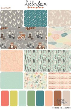 Yard Bundle prints) 5 yards total - Hello, Bear by Bonnie Christine / Stone Palette / Woodland / Art Gallery Cute Quilts, Boy Quilts, Op Art, Home To Roost, Woodland Art, Art Gallery Fabrics, Surface Pattern Design, Fabric Patterns, Texture