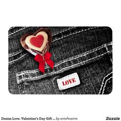 Heart Lollipop and Black Denim Design Valentine's Day Magnets. Matching cards, postage stamps and other products available in the Holidays / Valentine's Day Category of the artofmairin store at zazzle.com