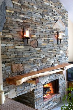 Click to Close Rustic Mantle, Wooden Mantle, Rustic Fireplace Mantels, Cabin Fireplace, Wood Mantels, Fireplace Design, Mountain Dream Homes, River Rock Fireplaces, Stone Houses