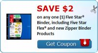 Save $2.00 on any one (1) Five Star® Binder, including Five Star Flex® and new Zipper Binder Products : #Uncategorized Check it out here!!