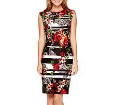 Liz Claiborne® Sleeveless Mixed Print Sheath Dress
