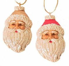 Beautiful set of 2 Santa faces, one red and one gold. Each piece approx Santa Face, Santa Ornaments, Christmas Decorations, Holiday Decor, Red Gold, Hand Carved, Cheer, Faces, Carving