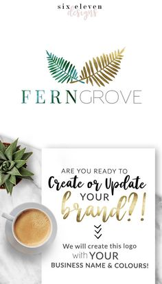 296 Fern Grove LOGO Premade Logo Design Blog Header Blog, Fern, Logo Design, Premade Logo, Branding, Blog Header, Business Logo, Photography, Boutique, Shop, Jewellery, Website, Tropical