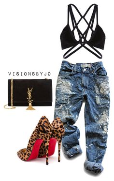 """Untitled #1380"" by visionsbyjo on Polyvore featuring Levi's, Christian Louboutin, Yves Saint Laurent, women's clothing, women's fashion, women, female, woman, misses and juniors"