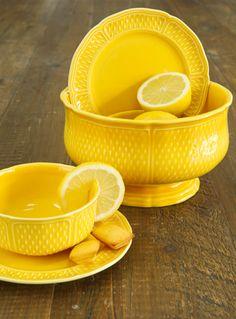 Bowls . Saucers . Lemons . Yellow