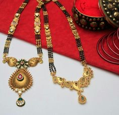 """The Indians are quite acquainted with the term """"mangalsutra"""" where mangal means auspicious and sutra means thread or dhaga.Below are some latest mangalsutra designs of which will definitely strike your mind to have these collections. Gold Bangles Design, Gold Earrings Designs, Gold Jewellery Design, Bridal Jewellery Online, Bridal Jewelry, Beaded Jewelry, Silver Jewelry, Silver Ring, Silver Necklaces"""
