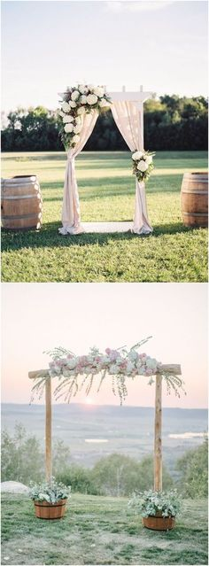 Rustic wedding arches & alter wedding ideas #rustic #wedding #weddingideas / http://www.deerpearlflowers.com/wedding-ceremony-arches-and-altars/