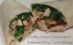 Homemade skinny and light Caesar dressing and chicken Caesar wraps