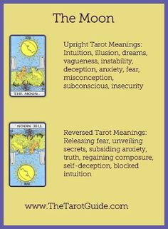 Tarot Flashcards - The Moon Upright and Reversed Meanings…