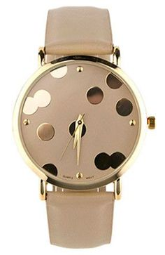 Nude + Gold Dot Watch