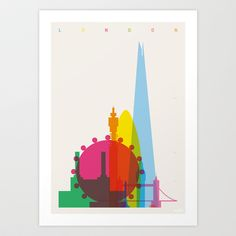 Shapes of London. Accurate to scale Art Print by Yoni Alter - $20.00