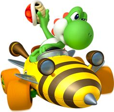 Yoshi as he appears in Mario Kart 7, driving a fun looking bee-themed kart. This makes me think about how fun karts in these kart racing games can look, and because I see myself as a fun person, I hope I can express my personality and creativity in my kart design.