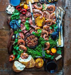Woodfire-grilled surf & turf platter with prime-grade tenderloin Chilean prawn a… – Seafood Blok Seafood Recipes, Cooking Recipes, Healthy Recipes, Seafood Bbq, Cooking Pork, Seafood Platter, Meat Platter, Fish Platter, Food Porn