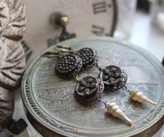 Rustic Upcycled Earrings with Victorian Buttons by BeautifulRuin