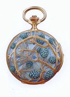 Lalique  1898/1900 'Pine Cones' Watch: gold, plique-à-jour enamel on glass