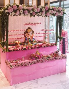 Flower Decoration For Ganpati, Ganpati Decoration Design, Stage Decorations, Festival Decorations, Flower Decorations, Ganesh Chaturthi Decoration, Wedding Backdrop Design, Ganapati Decoration, Ganesh Idol